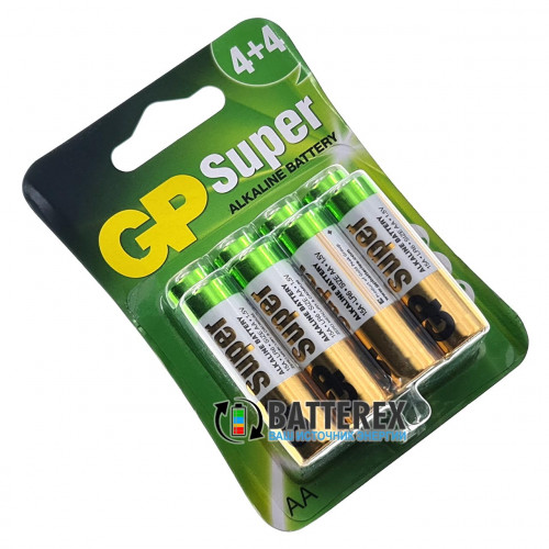 Батарейки щелочные АА GP Super Alkaline LR6 1.5V - упаковка 8 шт.