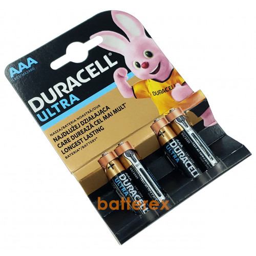 Батарейки АAА Alkaline Duracell Ultra Powercheck LR03 1.5V - 4 шт. в блистере