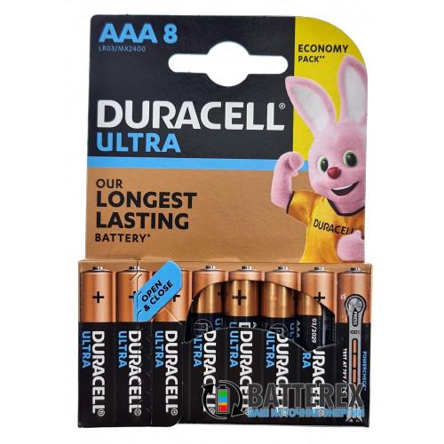 Батарейки АAА Alkaline Duracell Ultra Powercheck LR03 1.5V с проверкой уровня заряда - 8 шт. в блистере - экономичная упаковка!