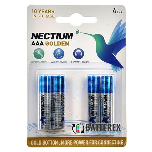 AAA Nectium Golden LR03 1.5V - батарейки ААА Alkaline с позолоченным контактом минус - упаковка 4 шт.