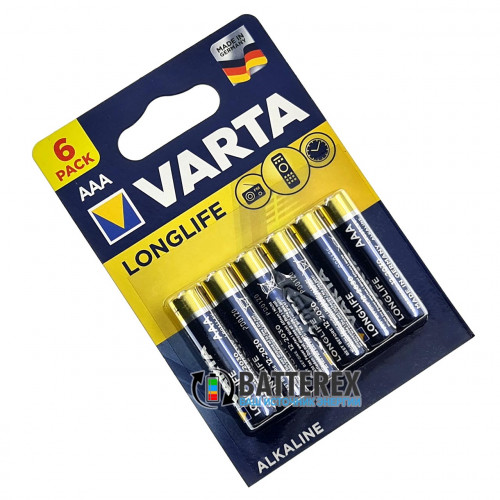 Батарейки АAА Varta Alkaline Longlife LR03 1.5V блистер 6 шт. - оригинал, Германия