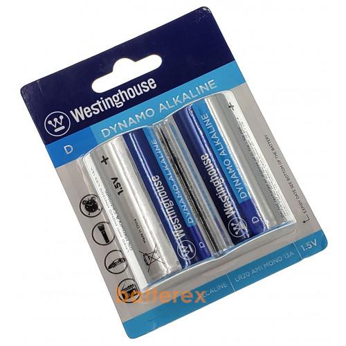 Батарейки D LR20 Westinghouse Dynamo Alkaline 1.5V (2 шт. в блистере)