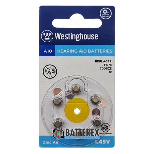 Батарейка A10 Westinghouse Zinc Air 1.45V для слуховых аппаратов - 6 шт. в упаковке