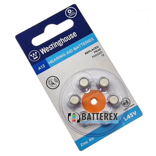 Батарейка A13 Westinghouse Zinc Air 1.45V для слуховых аппаратов - 6 шт. в упаковке