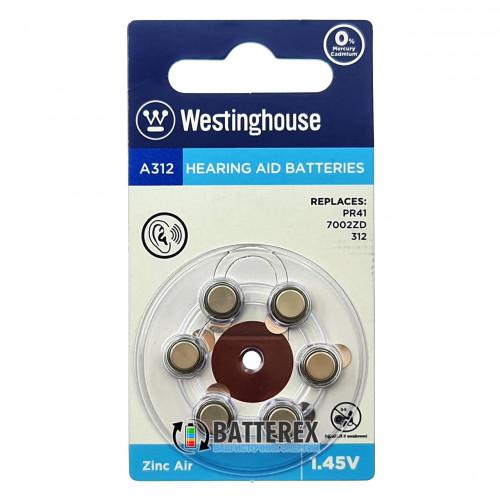 Батарейка A312 Westinghouse Zinc Air 1.45V для слуховых аппаратов - 6 шт. в упаковке