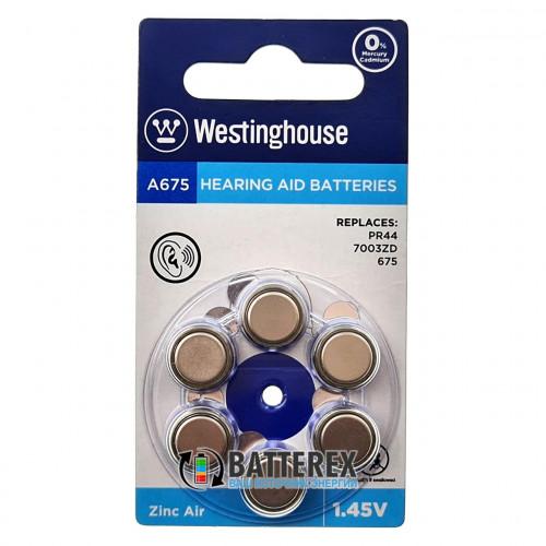 Батарейка A675 Westinghouse Zinc Air 1.45V для слуховых аппаратов - 6 шт. в упаковке