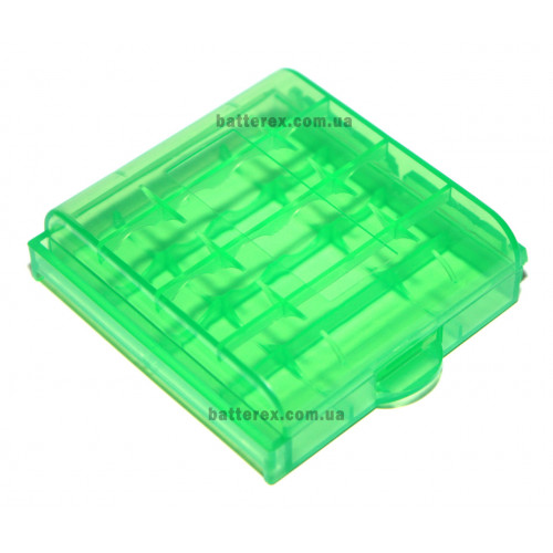Пластиковый бокс на 4 аккумулятора АА / ААА (зелёный)