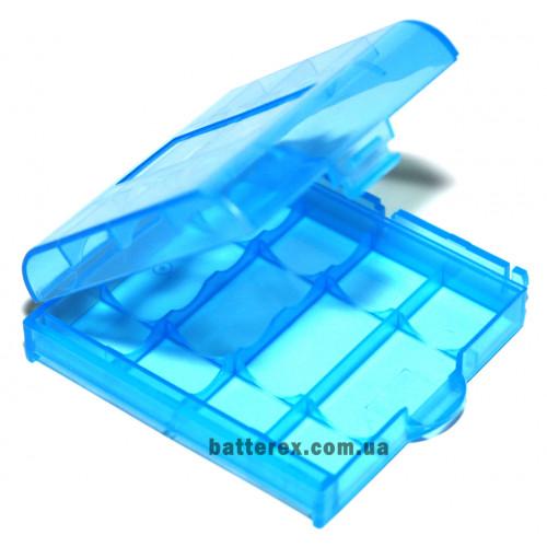 Пластиковый бокс на 4 аккумулятора АА / ААА (голубой)