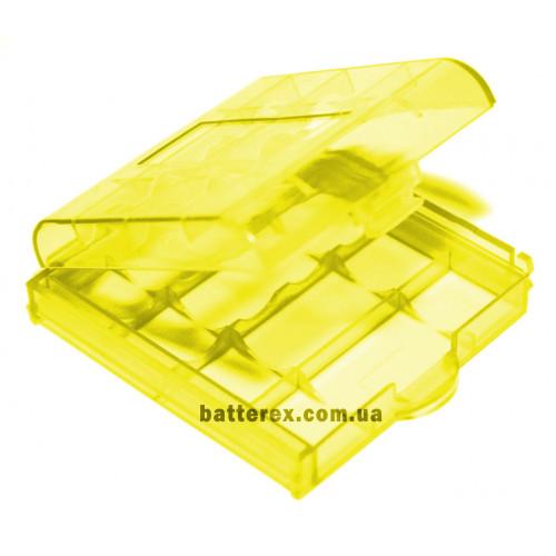 Пластиковый бокс на 4 аккумулятора АА / ААА (жёлтый)