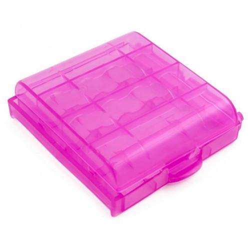 Пластиковый бокс на 4 аккумулятора АА / ААА (розовый)