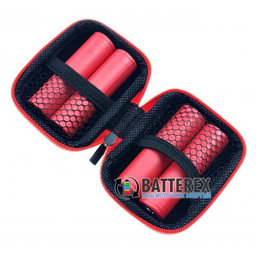 Vapcell VPC-02 black/red - чехол на змейке для аккумуляторов или аксессуаров (чёрный/красный)