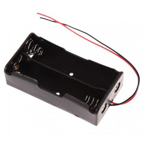 Батарейный отсек на 2 аккумулятора 18650 с пружинами и проводами (последовательное соединение)