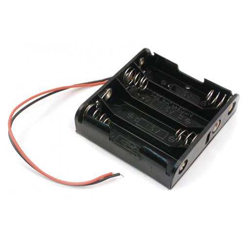 Батарейный отсек на 4 аккумулятора AA с пружинами и проводами (последовательное соединение)