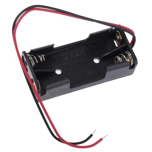 Батарейный отсек на 2 аккумулятора AАA с пружинами и проводами (последовательное соединение)