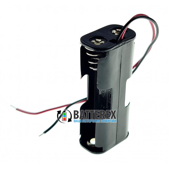 Батарейный отсек на 2 аккумулятора AАA (с пружинами и проводами) для последовательного соединения