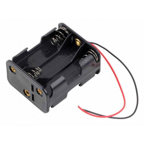 Батарейный отсек на 6 аккумуляторов AA с пружинами и проводами (последовательное соединение)