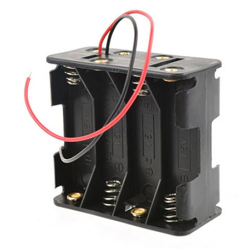 Батарейный отсек на 8 аккумуляторов AA с пружинами и проводами (последовательное соединение)