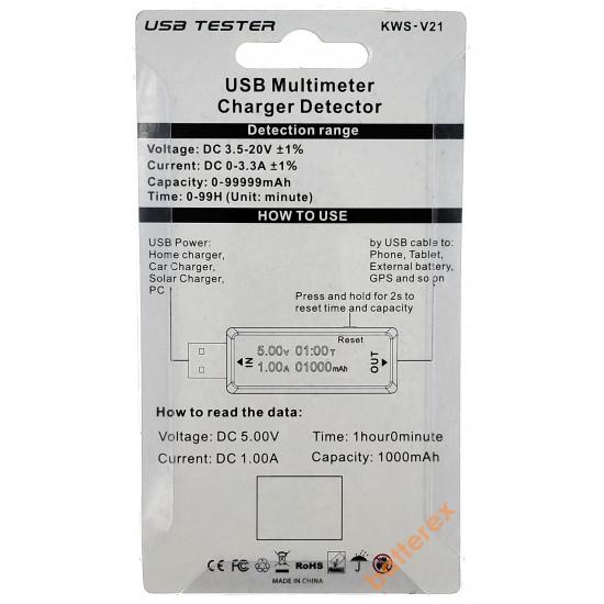USB Tester Charger Doctor KWS-V21 - USB тестер для измерения напряжения, тока и ёмкости