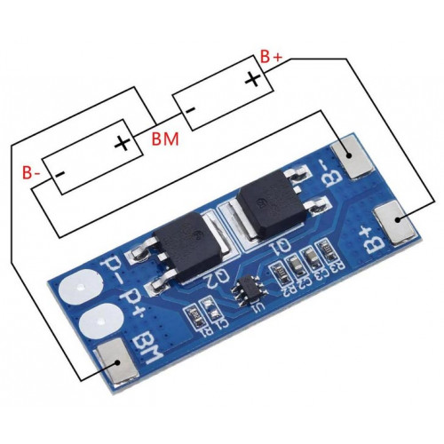 BMS контроллер заряда-разряда 2S для 2х аккумуляторов 18650 HX-2S-D01 8A 7.4-8.4V