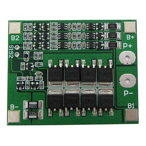 BMS плата защиты 3S 25A 11.1-12.6V (HX-3S-FL25A) с балансировкой для 3х аккумуляторов 18650
