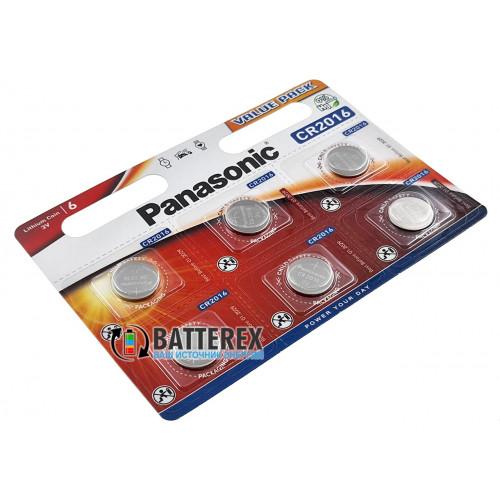 Батарейка CR2016 Panasonic Lithium Power 3V - 6 шт. в блистере