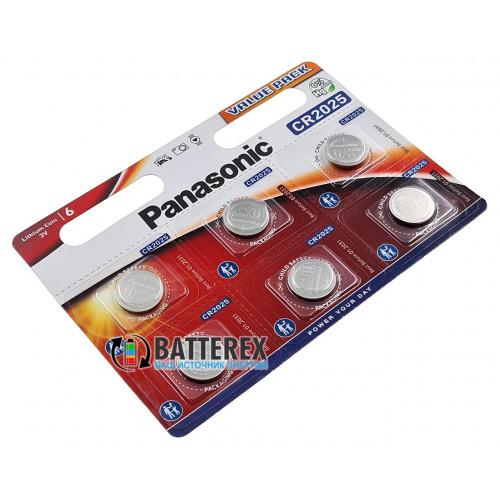 Батарейка CR2025 Panasonic Lithium Power 3V - 6 шт. в блистере
