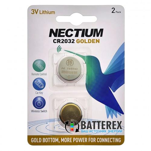 CR2032 Nectium Golden 3V с позолоченным контактом минус - 2 шт. в блистере