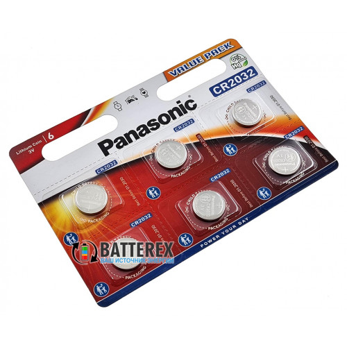 Батарейка CR2032 Panasonic Lithium Power 3V - 6 шт. в блистере
