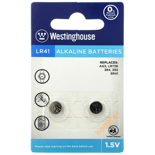 Батарейка LR41 Westinghouse Alkaline 1,5V (AG3 LR736 384 392 SR41) - 2 шт. в блистере