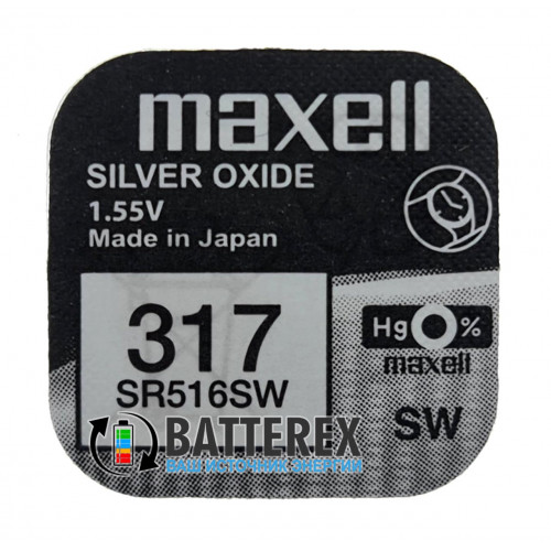 Батарейка 317 SR516SW Maxell Silver Oxide 1,55V Made in Japan