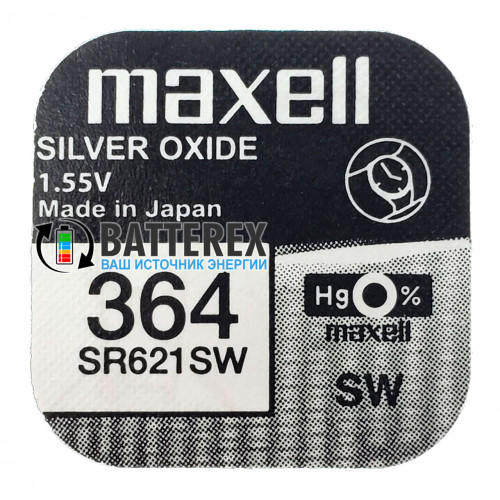 Батарейка 364 SR621SW Maxell Silver Oxide 1,55V Made in Japan