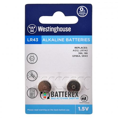 Батарейка LR43 Westinghouse Alkaline 1,5V (AG12, LR1142, G12, 186, GP86A, 386, SR43W) - 2 шт. в блистере
