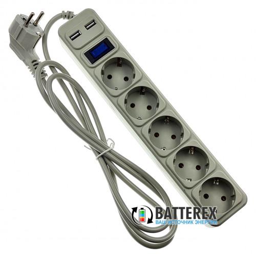 Сетевой фильтр - удлинитель Merlion на 5 розеток и 2 USB-порта 5V 2.1A - длина 1,8м