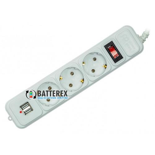 Сетевой фильтр - удлинитель PowerPlant на 3 розетки и 2 USB-порта 5V 2.1A - длина 1,8м