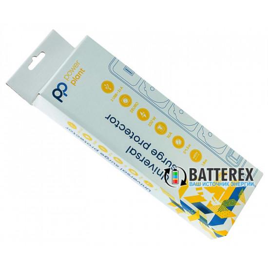 Сетевой фильтр - удлинитель PowerPlant на 3 розетки и 2 USB-порта 5V 2.1A - длина кабеля 1,8м