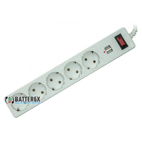 Сетевой фильтр - удлинитель PowerPlant на 5 розеток и 2 USB-порта 5V 2.1A - длина 5м