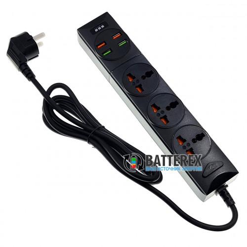Сетевой фильтр - удлинитель BKL-01 на 3 розетки и 4 порта USB 5V 3,4A - длина 2м
