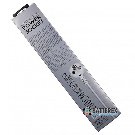 Сетевой фильтр (удлинитель) BKL-01 на 3 розетки и 4 порта USB 5V 3,4A - длина 2м