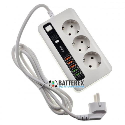 Сетевой фильтр - удлинитель BKL-04 2500W с таймером отключения на 3 розетки и 5 портов USB 5V 3,4A - длина 2м