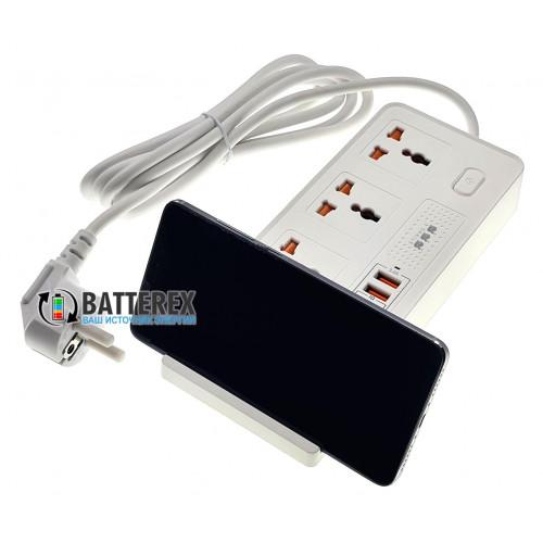Сетевой фильтр - удлинитель BKL-20 на 3 розетки и 4 USB-порта 5V 3,4A с беспроводной зарядкой 10W для телефонов - длина 2м