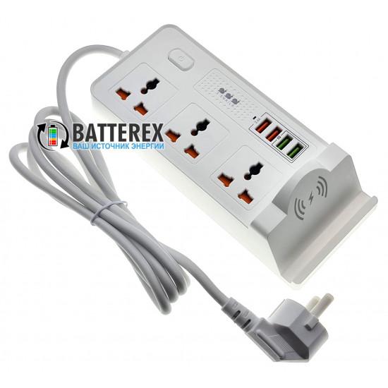 Сетевой фильтр (удлинитель) BKL-20 на 3 розетки и 4 USB-порта с беспроводной зарядкой для телефонов - длина 2м