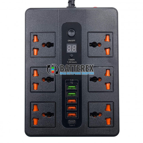 Сетевой фильтр - удлинитель BLK-11 2500W на 6 розеток, 5 портов USB 5V 3,4A и 1 порт Type-C, таймер отключения, длина 2м