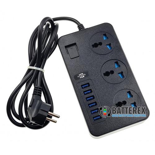 Сетевой фильтр - удлинитель IQ Power TB-T09 на 3 розетки и 6 USB-портов - длина 2м