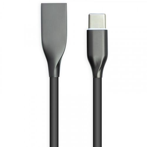Кабель PowerPlant USB - Type-C 1м (силикон, чёрный, 2.4А)