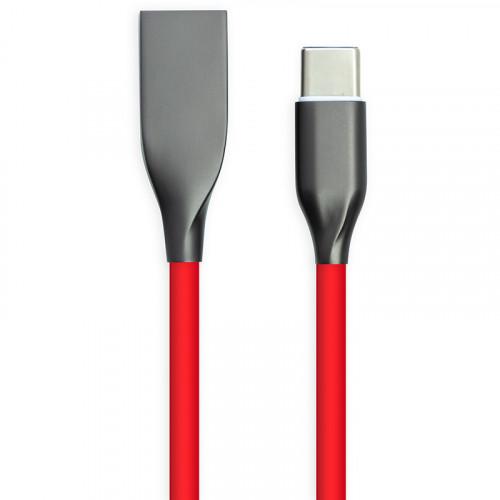 Кабель USB 2.0 AM - Type-C 2м - супергибкий силикон, красный, 2.4А