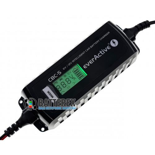 EverActive CBC-5 - интеллектуальное зарядное устройство с дисплеем для авто и мото аккумуляторов 6V/12V