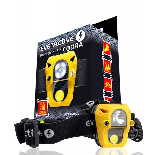 Everactive Headlight HL-250 Cobra - сенсорный налобный фонарь 200 люмен (2 источника света, питание от 3х ААА)