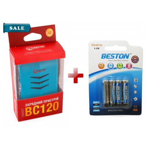 Extradigital BC-120 - USB-зарядка на 4 AA/AAA аккумулятора + 4 батарейки AAA Beston