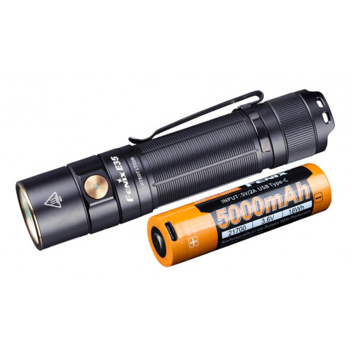 Фонарь Fenix E35 V3.0 3000 люмен + аккумулятор 21700 Fenix 5000mah с зарядкой от USB Type-C - оригинал - бесплатная доставка