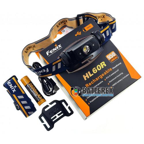 Фонарь налобный Fenix HL60R 950 люмен + аккумулятор 18650 Fenix 2600mah - оригинал - бесплатная доставка